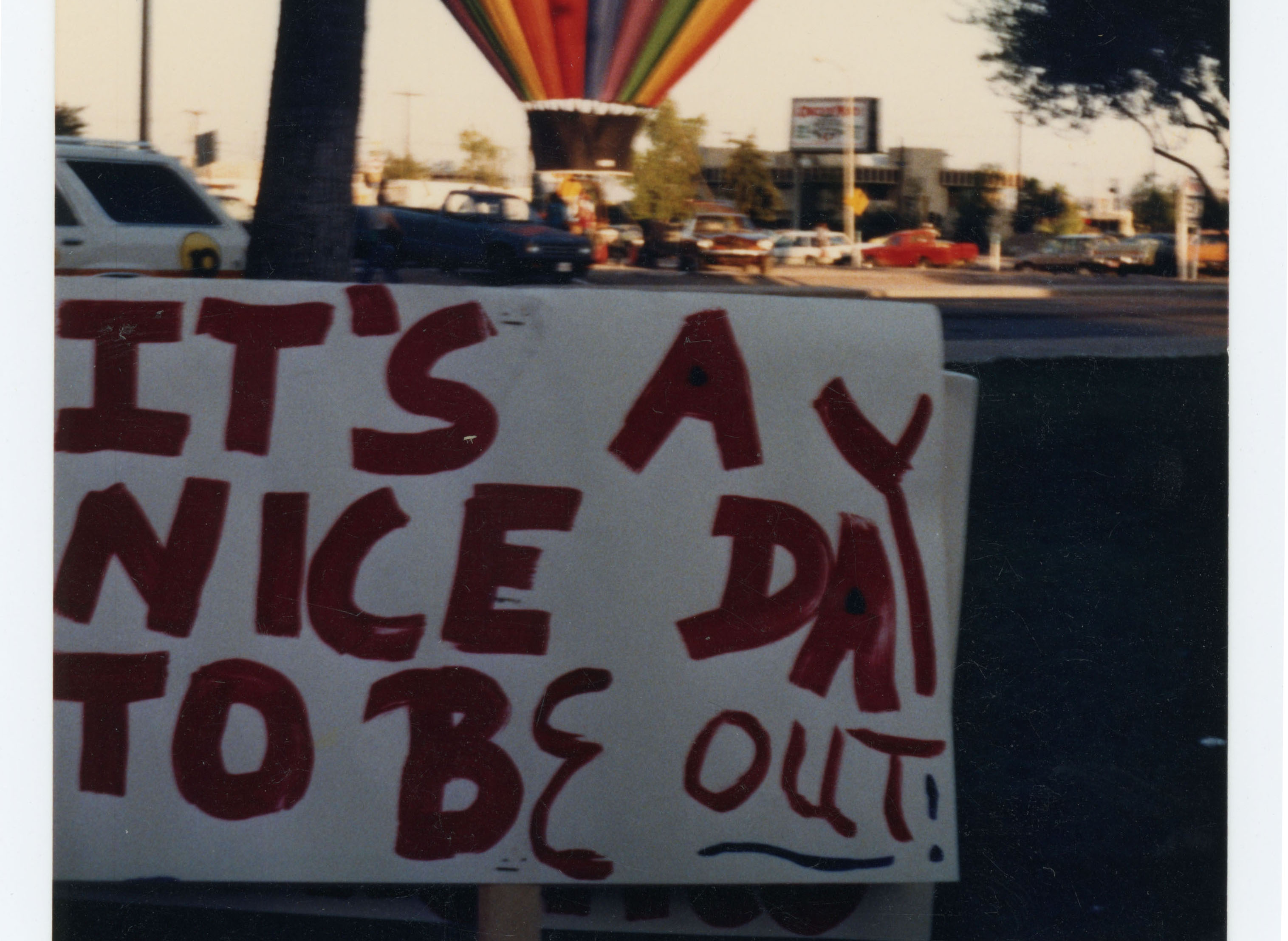 Hot air balloon and a protest sign; Phoenix Gay Pride Parade; 1985