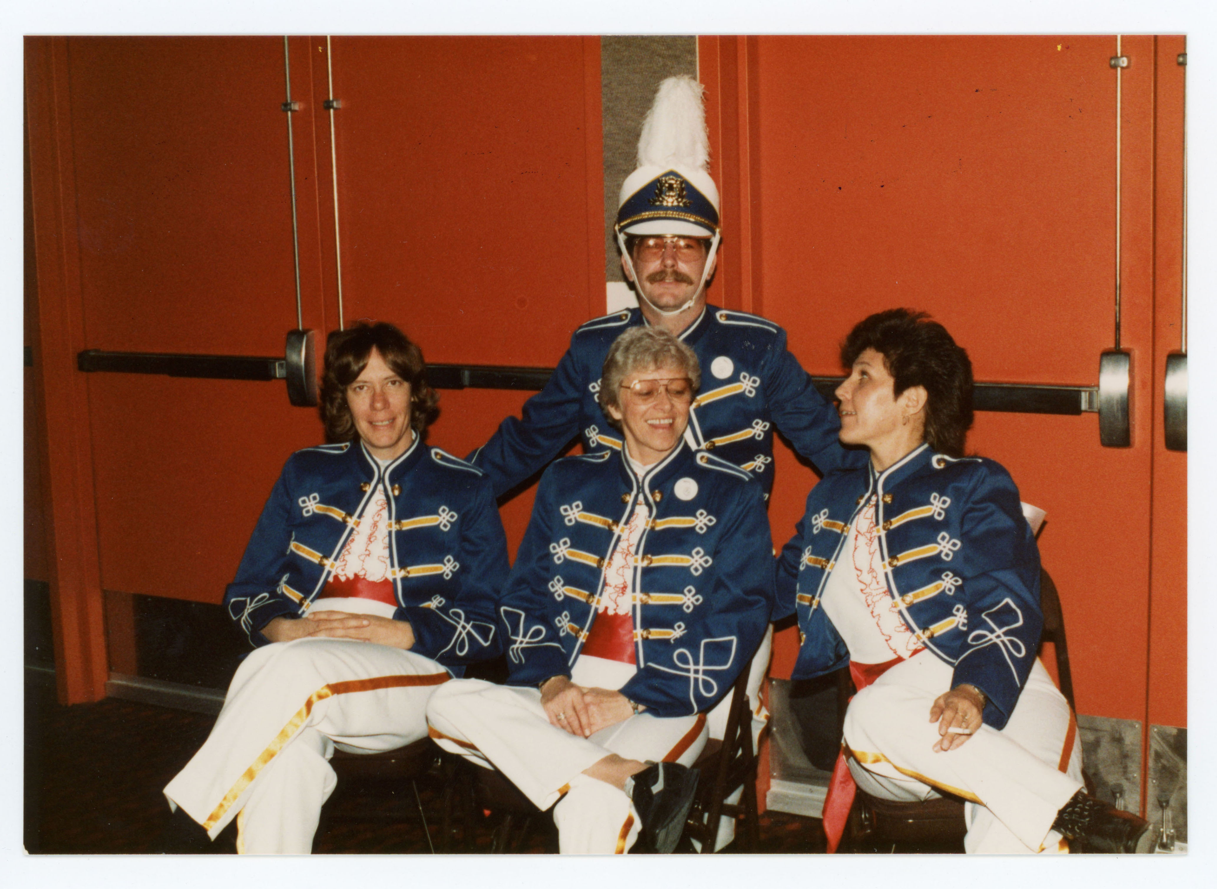 A group of people in band uniforms; Halloween Ball; 1986