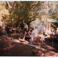 Group of men camping